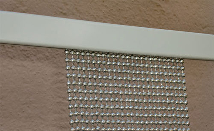 Beaded curtain fixing
