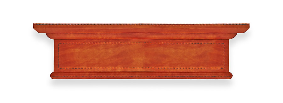 Leather covered wood pelmet