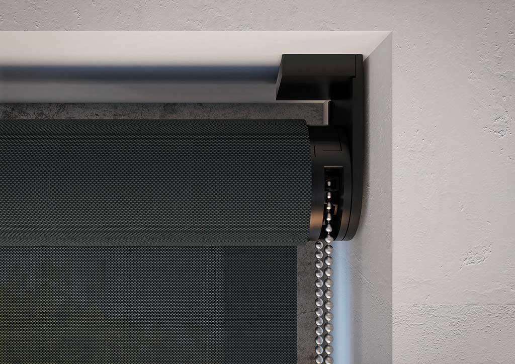 Custom black Slimscreen roller blind closeup