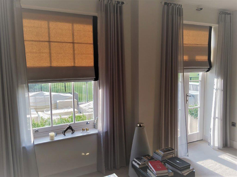 Bespoke Roman blinds with trim