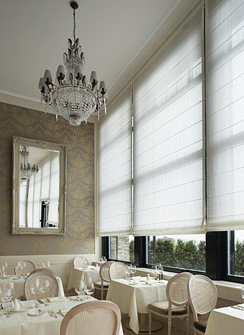 Roman blinds in restaurant