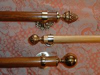 Cast finails and wooden curtain poles